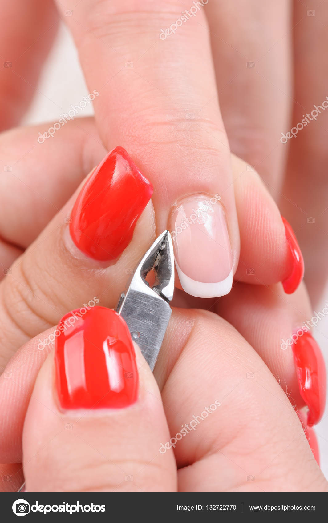 Cuticles cutting with nail clippers — Stock Photo © starush #132722770