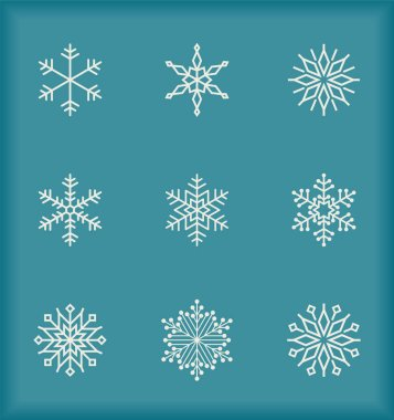 Set of snowflakes over blue background