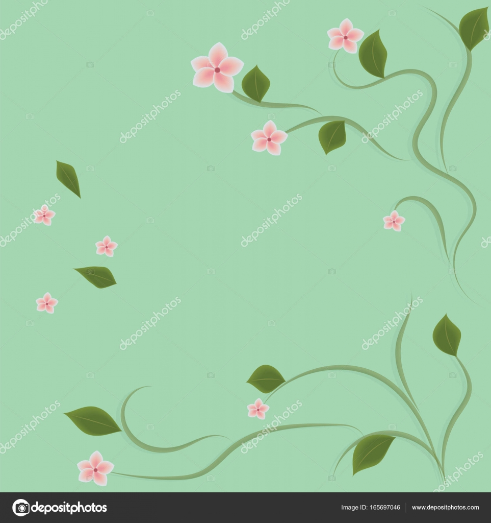 Background Light Green Flowers Gentle Pink On Thin Branches With Leaves Creative Abstract Modern Vector