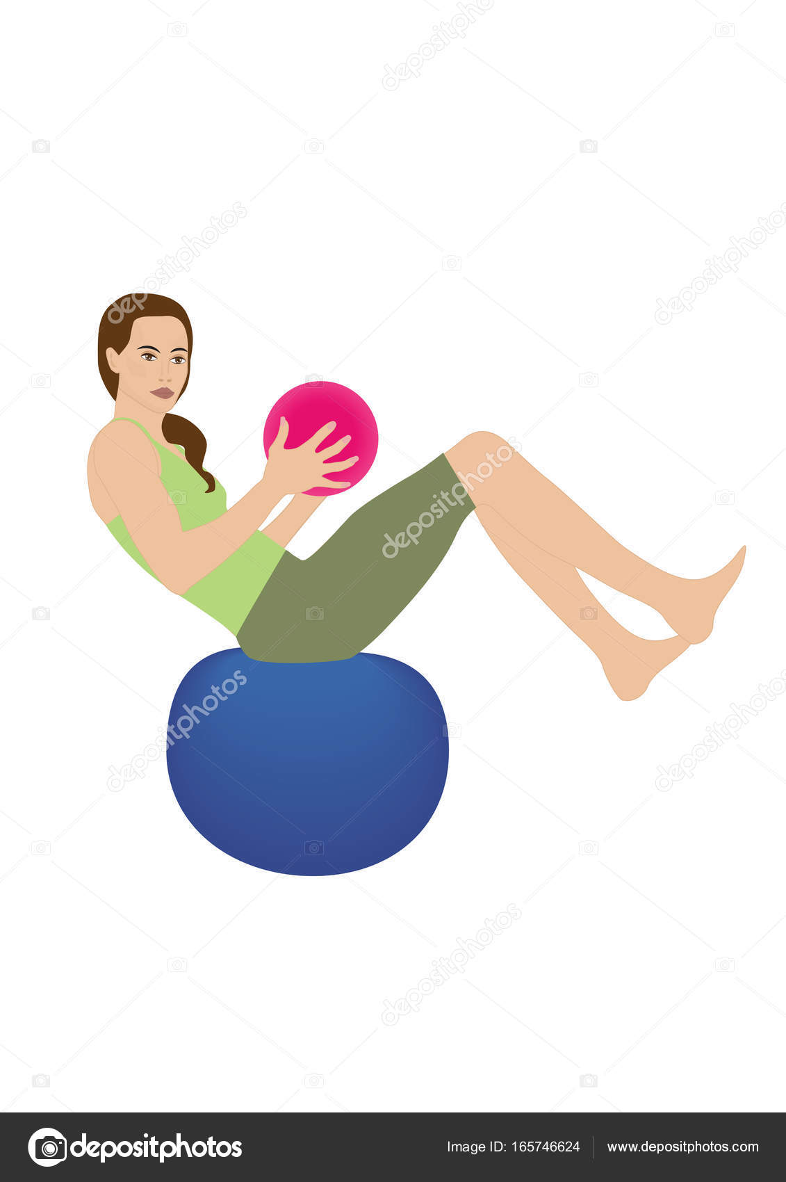 フィットネス女性ハーモニー バランス ボール デザインの白い背景