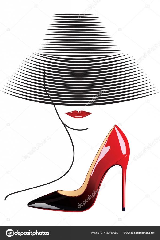 chica del sombrero rojo Vector de stock