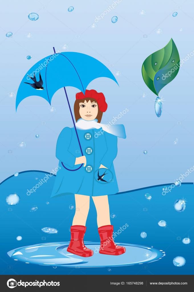 赤ゴムで傘を持つ少女ブーツ雨滴芸術創造的なベクトル イラスト春の