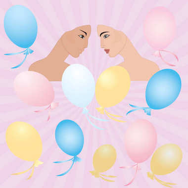 Couple in love face young girl pink background rays of the rising sun balloons art creative modern vector illustration Postcard Congratulatory Poster Wedding Birthday stock vector