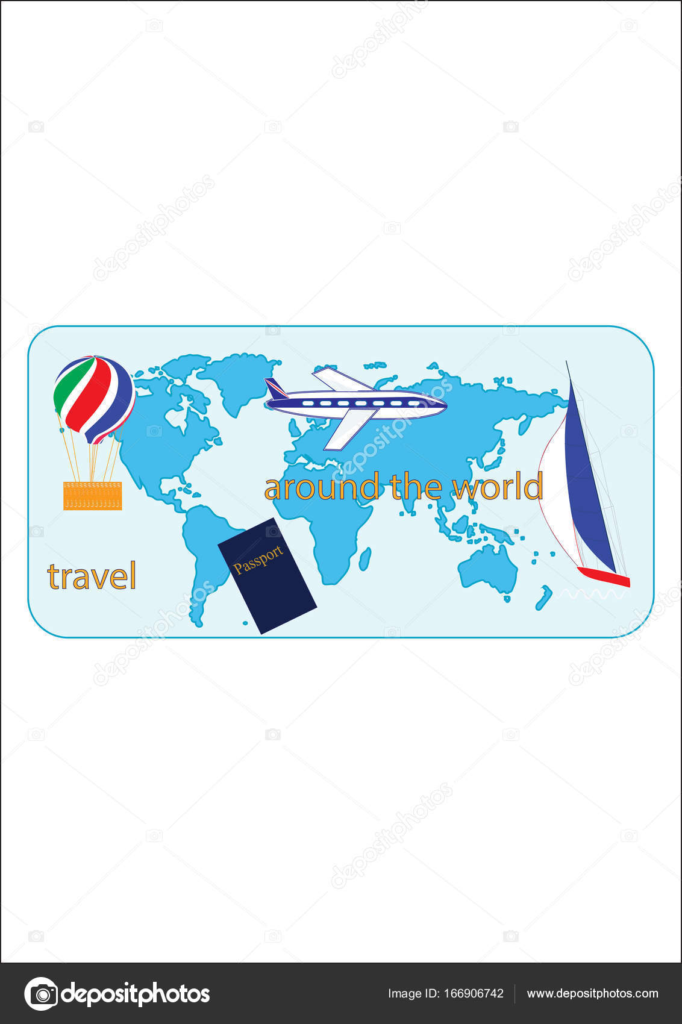 Tourist poster world map passport yacht airplane balloon world map passport yacht airplane balloon inscription travel around the world art creative modern vector illustration flat style gumiabroncs Choice Image