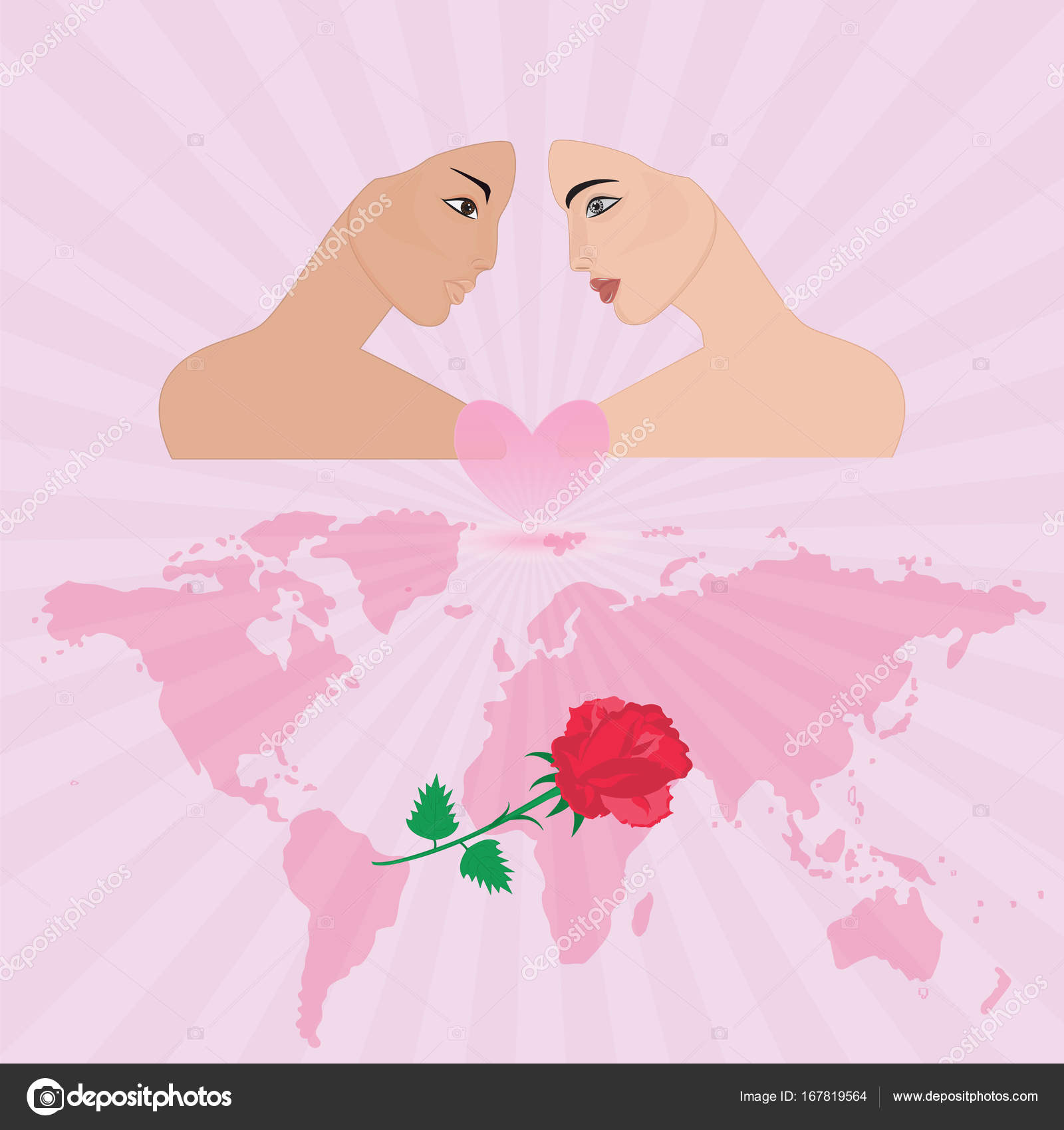 Couple in love face young girl pink background rays of the rising couple in love face young girl pink background rays of the rising sun world map rose art creative modern vector illustration postcard congratulatory poster gumiabroncs Images