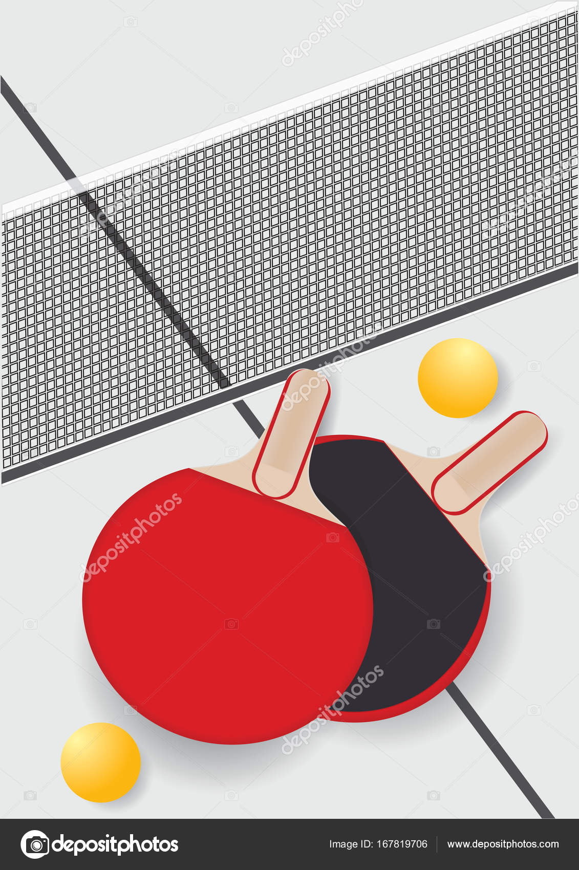 Table Tennis Racket Mesh Balls Isolated On A Light Background Art Rackets Diagram Creative Vector Illustration Stock