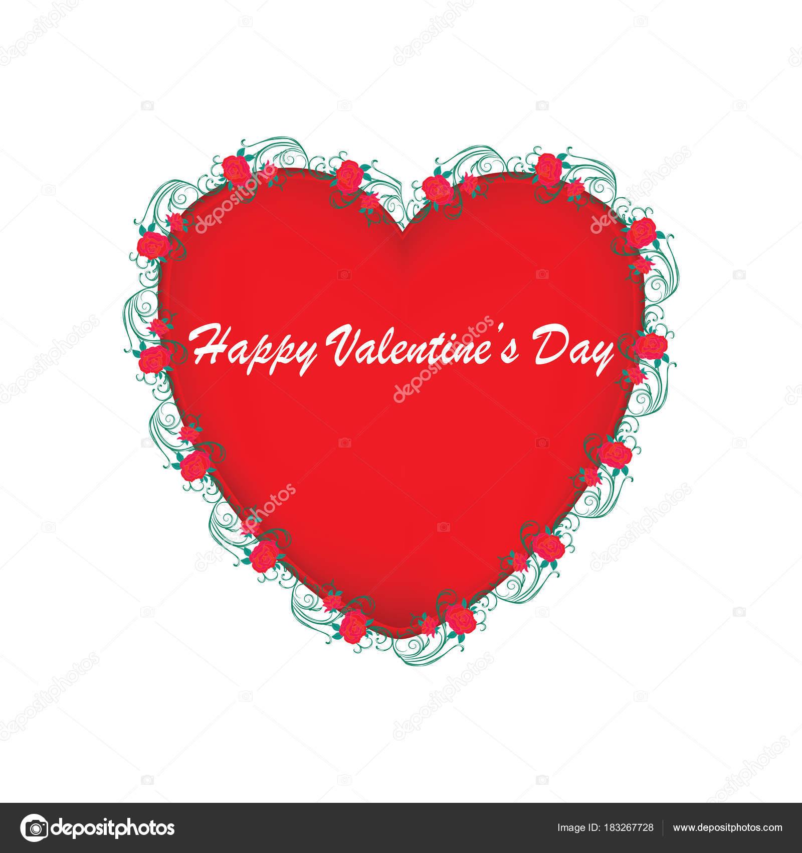 Día de San Valentín - corazón en un marco de rosas rojas con calado ...