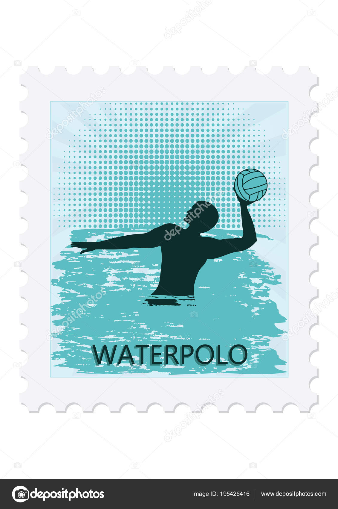 5e3af653f51c3 Postage stamp - Water polo - Player with ball - isolated on white  background - vector art illustration. Sports Collection — Vector by  istorsvetlana.mail.ru