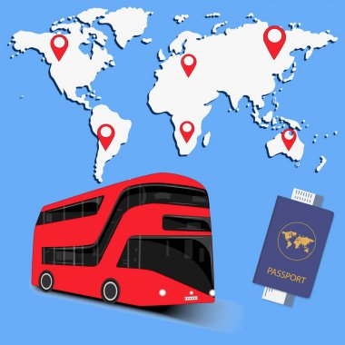 Traveling by bus - world map with markers, passport, ticket - vector. Coach exploring by bus