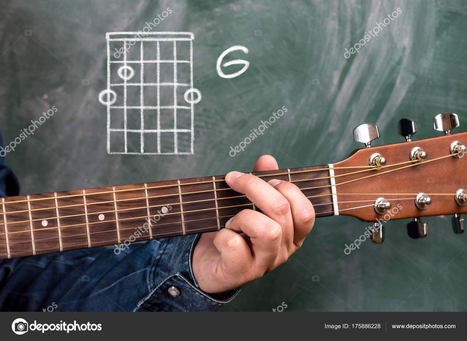 Man Blue Denim Shirt Playing Guitar Chords Displayed Blackboard