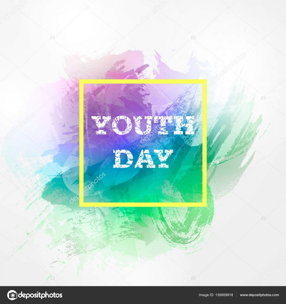 Vector illustration forinternational youth day hand drawn hand drawn watercolor bright holiday background on 12 augusthappy youth day design template for greeting invitation cards banner web posterflayer stopboris Gallery
