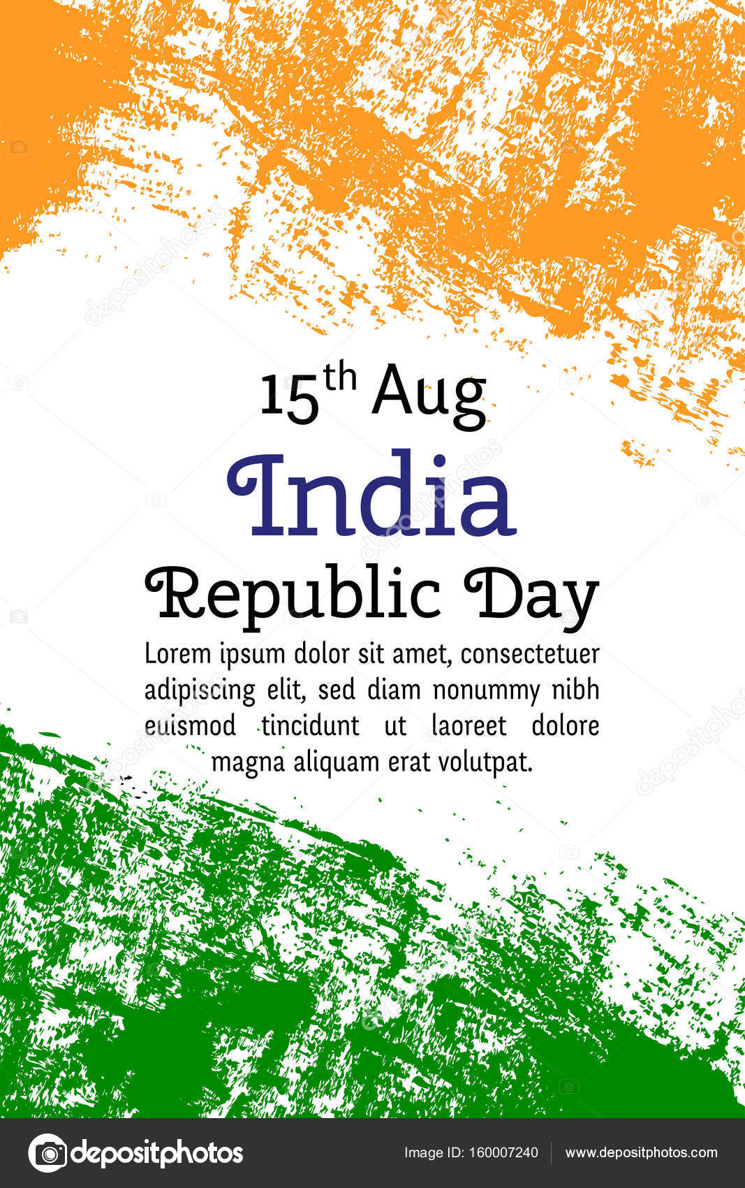 Vector Illustration Indian Independence Day India Flag In Trendy
