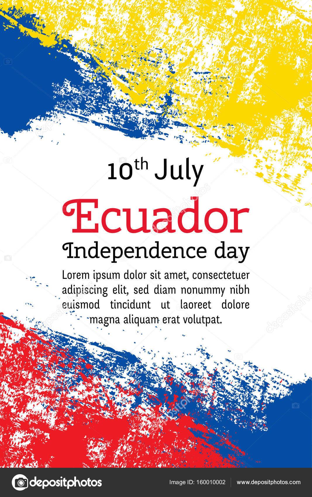 Vector Illustration Ecuador Independence Day Ecuadorian