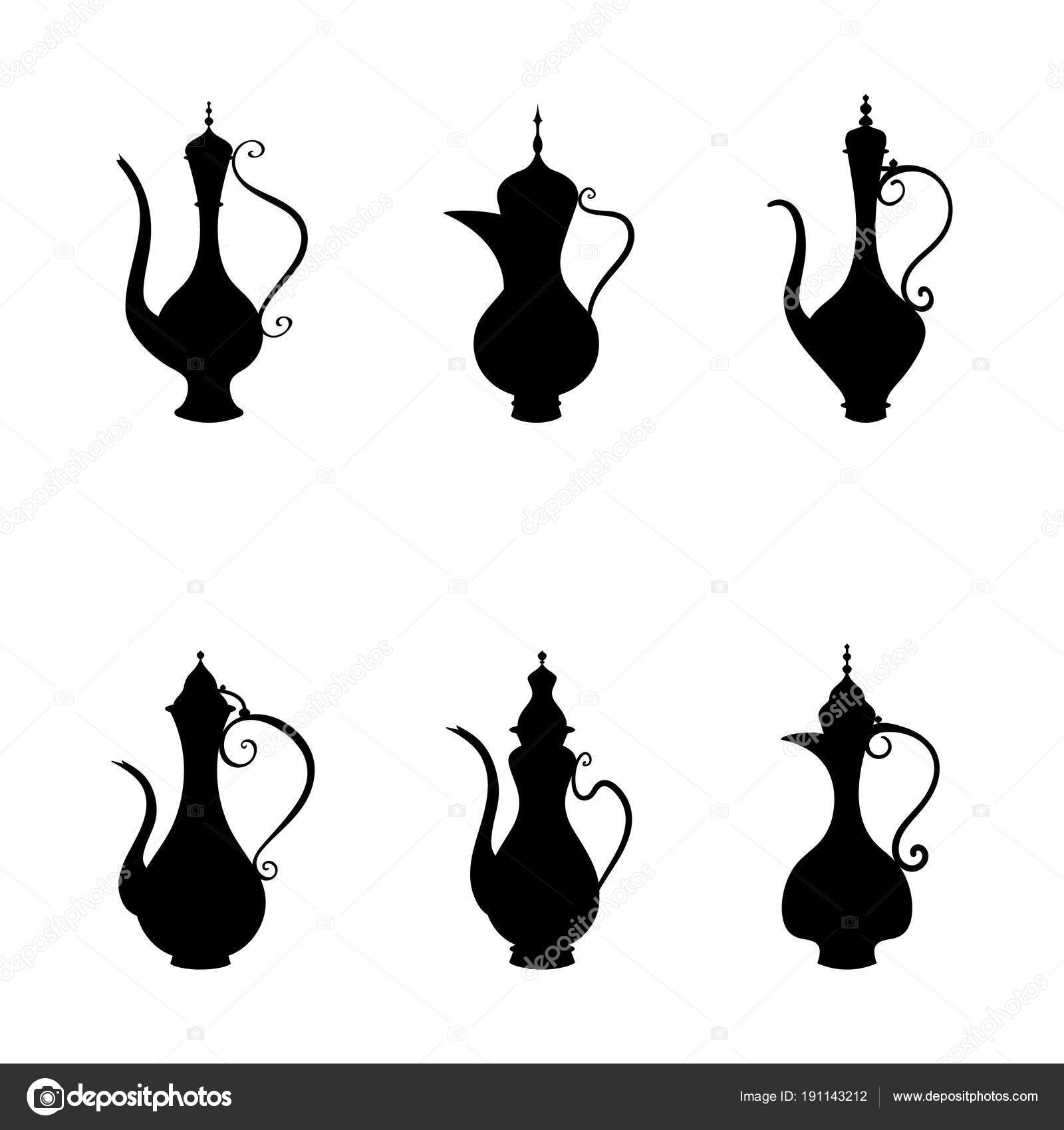 Arabic jug and coffee pot, Vector set of icon   Ottoman water-bottle
