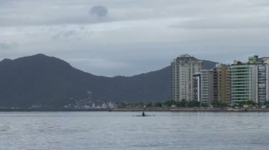 Footage of Florianopolis, skyline Beira-Mar avenue