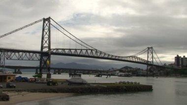 Footage of Florianopolis, Hercilio Luz bridge, skyline