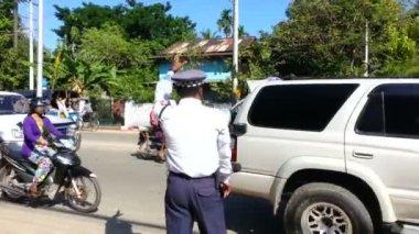 police regulate traffic on the street