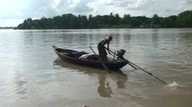 Small motorboat at Irrawaddy river