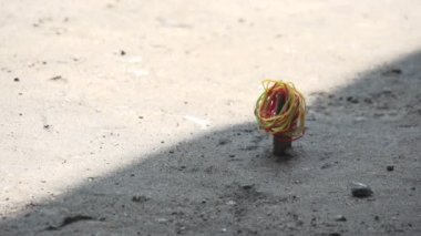 Mandalay, monastery, young monks play game with elastics