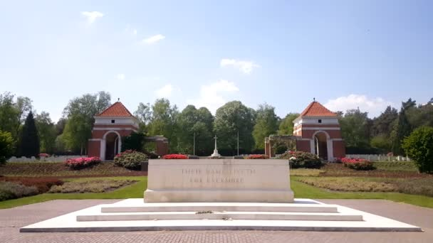monument at entrance of War Cemetery