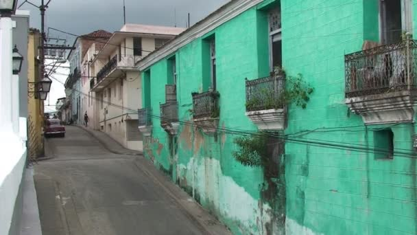 Street view with colonial buildings