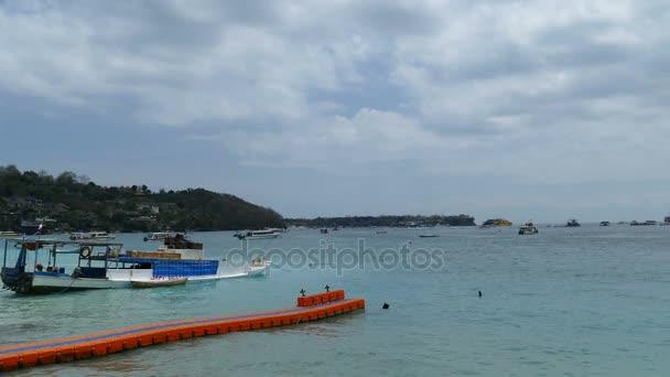 Sea beach panorama with boats