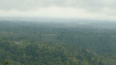 View over Balinese landscape from top of hill