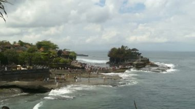 Lots of tourists at Tanah Lot temple, Bali, Indonesia