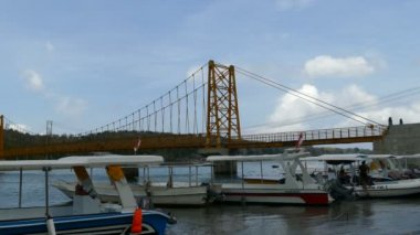 Yellow bridge between Nusa Ceningan and Nusa Lembongan, Bali
