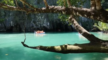 Tourists on boat trip. El Nido islands