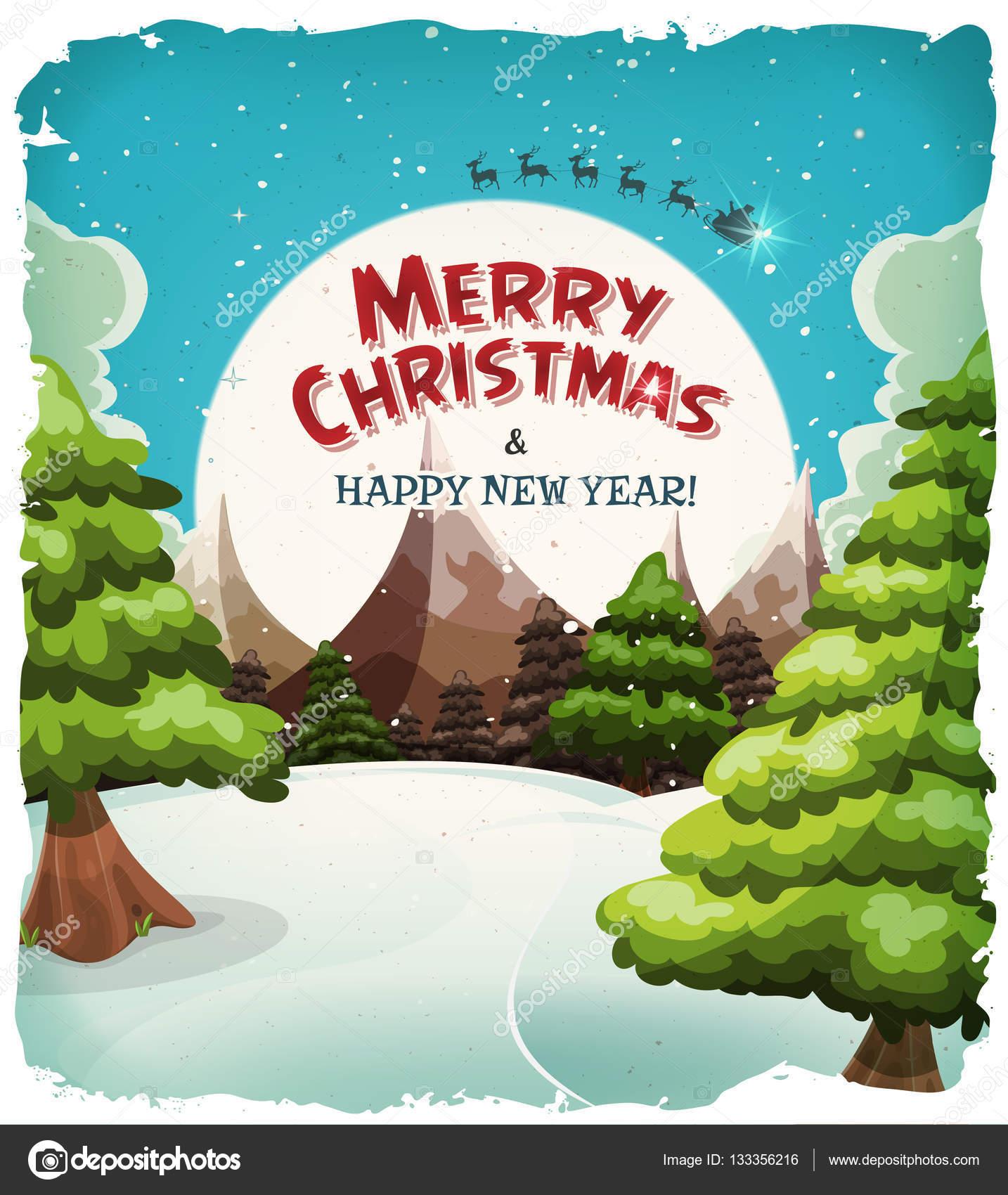 Joyeux Noel Paysage Carte Postale Image Vectorielle Benchyb