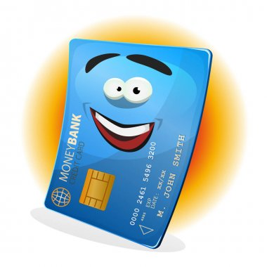 Cartoon happy and funny credit card character