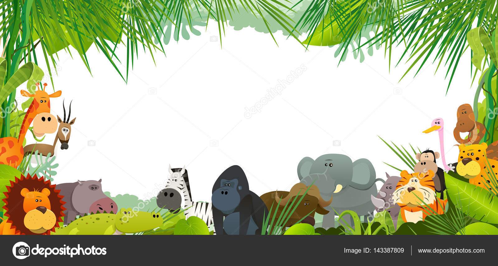 Dessin anim animaux sauvages savane africaine compris lion gorille l phant image vectorielle - La savane dessin ...