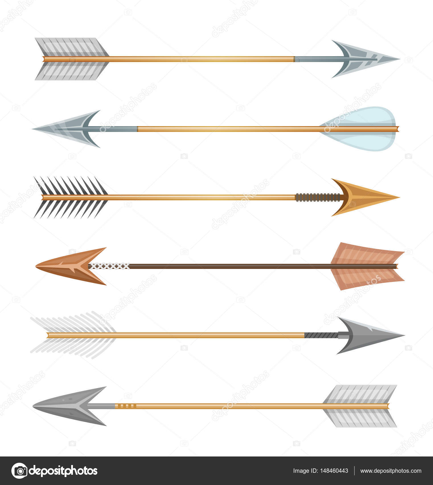 Set Cartoon Arrows Different Styles Sports Hunt Isolated
