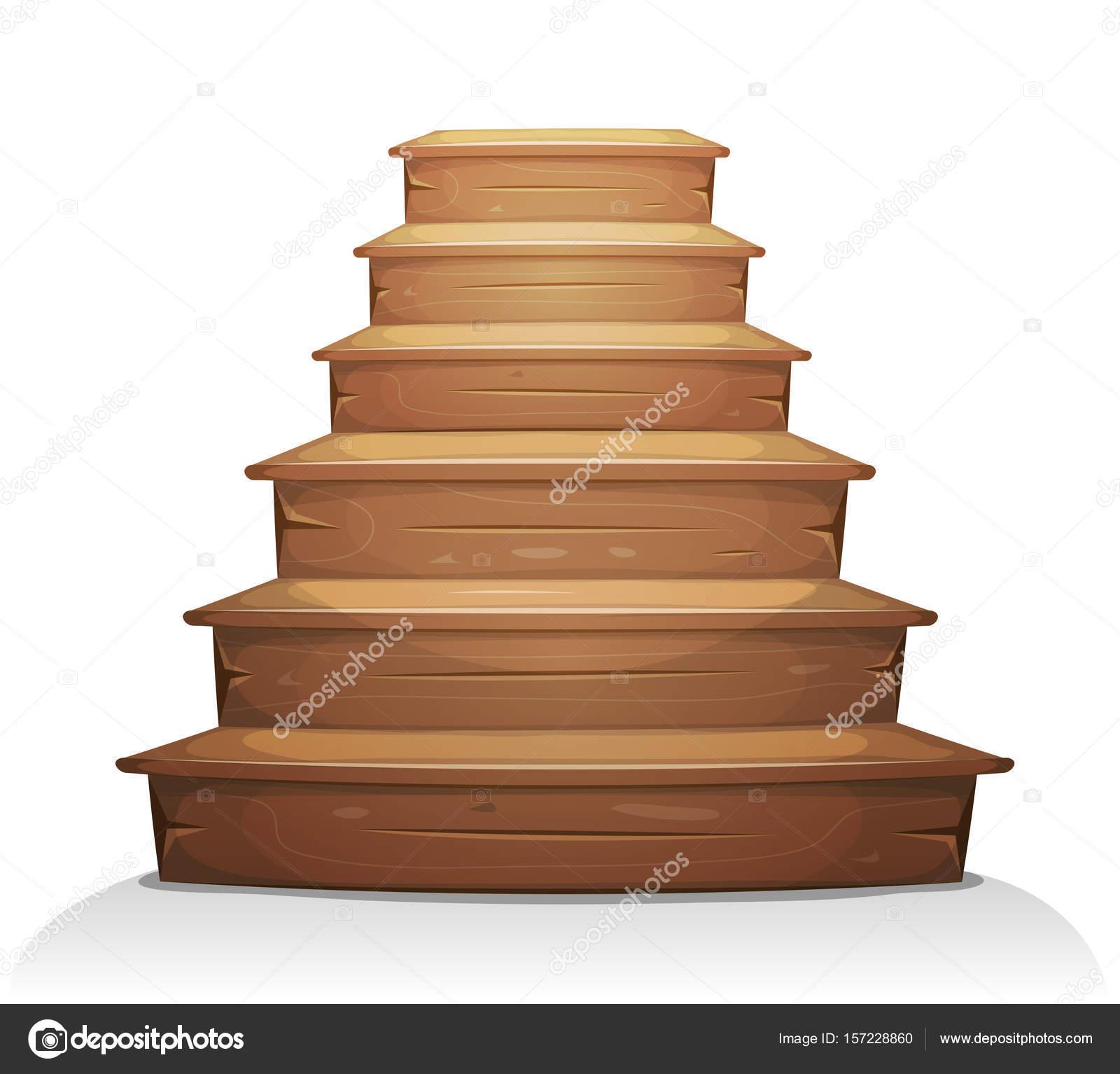 Ilustraci n una escalera madera dibujos animados para for Como trazar una escalera de madera