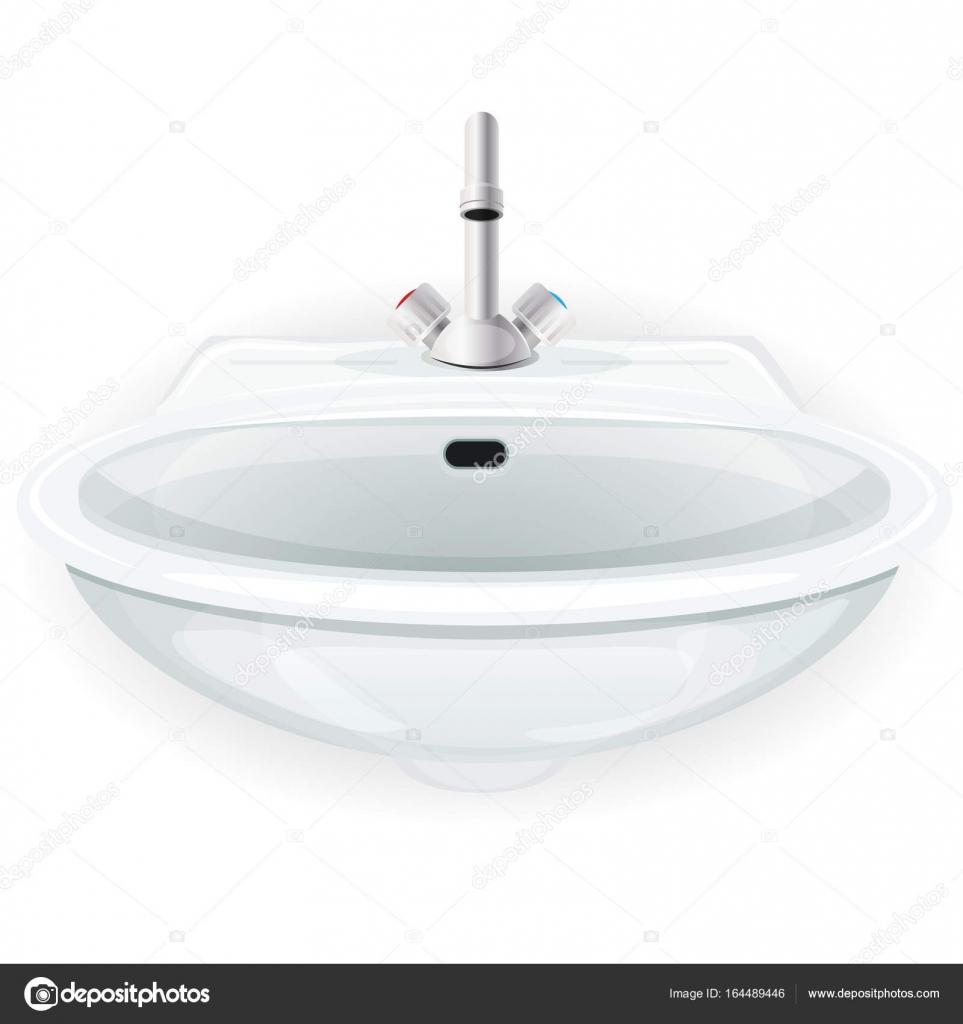 Illustration dun évier de maison intérieur blanc dessin animé avec robinet pour les meubles de toilette de cuisine ou de salle de bains isolé sur blanc
