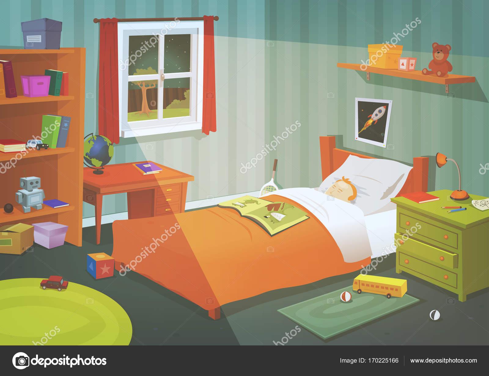 Kind of tiener slaapkamer In het maanlicht — Stockvector © benchyb ...