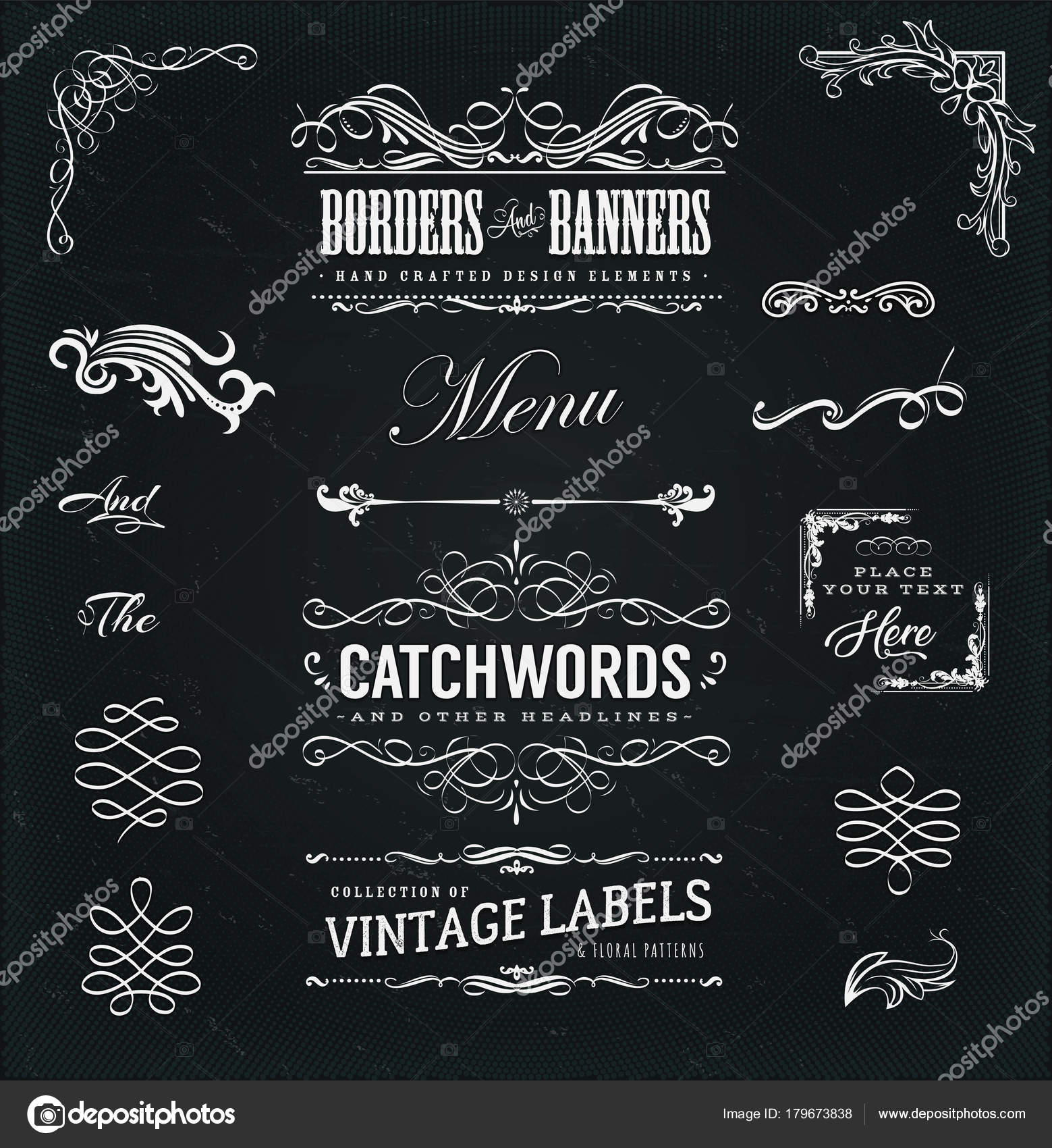 Vintage Corners And Borders Elements, With Calligraphic Floral Shapes,  Ampersand, Patterns And Old Fashioned Frame Design On Chalkboard U2014 Vector  By Benchyb