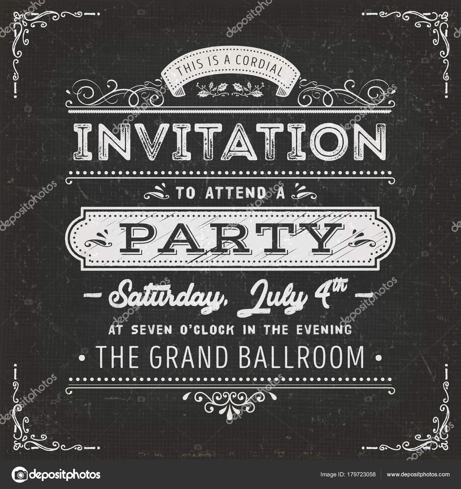 Invitación Fiesta Vintage Tarjeta Invitación Fiesta
