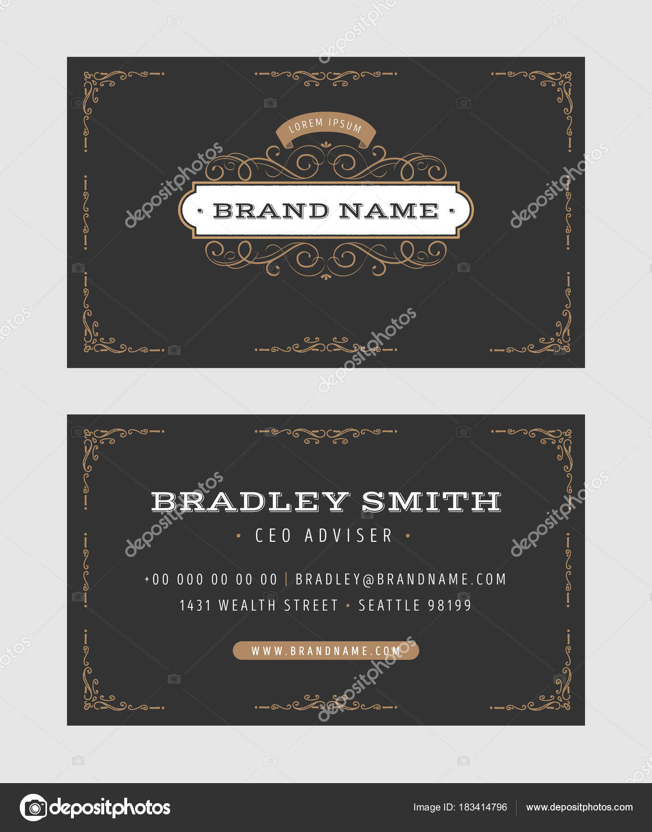 Illustration set luxury vintage business card templates front back illustration set luxury vintage business card templates front back side stock vector flashek Images