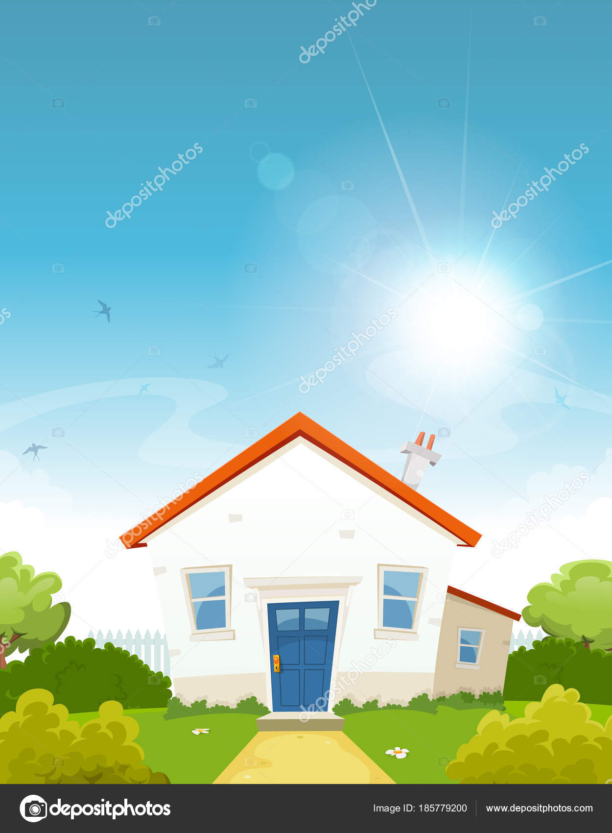 Cartoon Little House Sun Shining Backyard Garden Fence Hedges Trees U2014 Stock  Vector