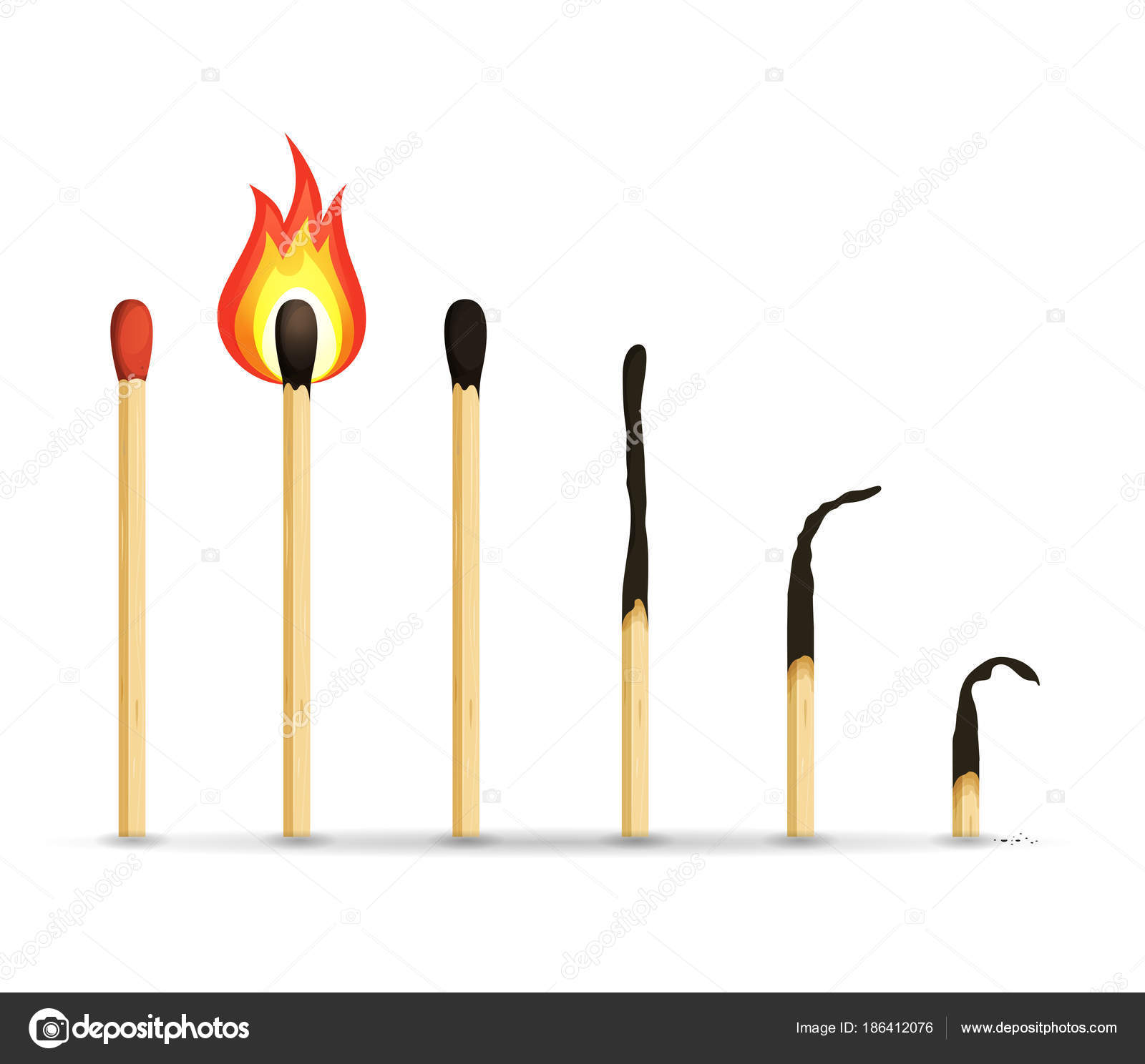 燃焼して焦げたサンプルと木製のマッチ棒のセットのイラスト ストック