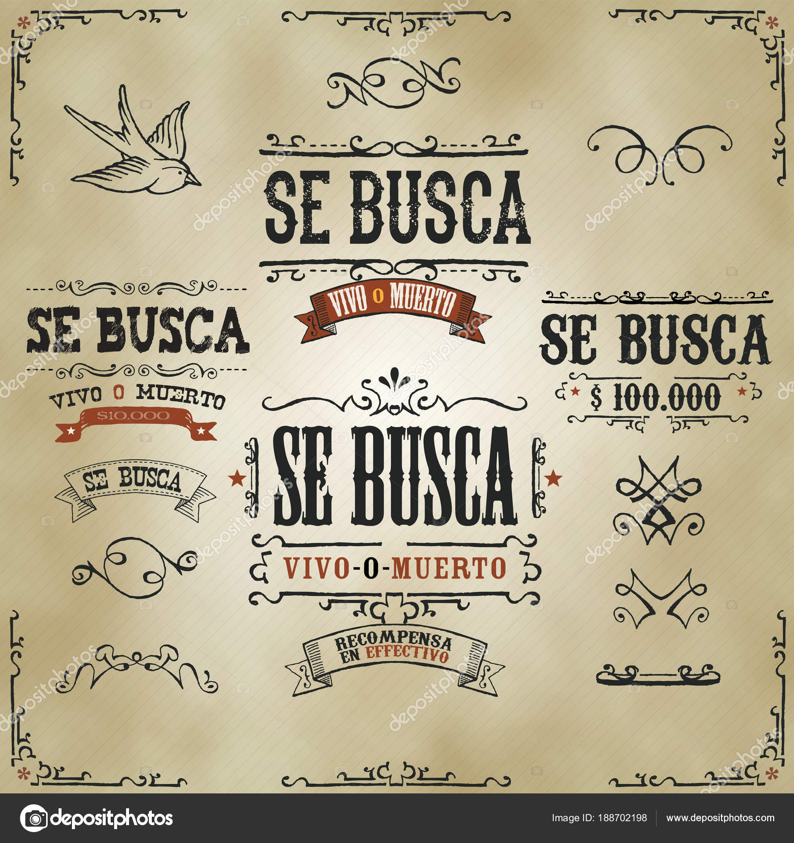 Set Hand Drawn Vintage Old Wanted Busca Vivo Muerto Spanish Stock Vector