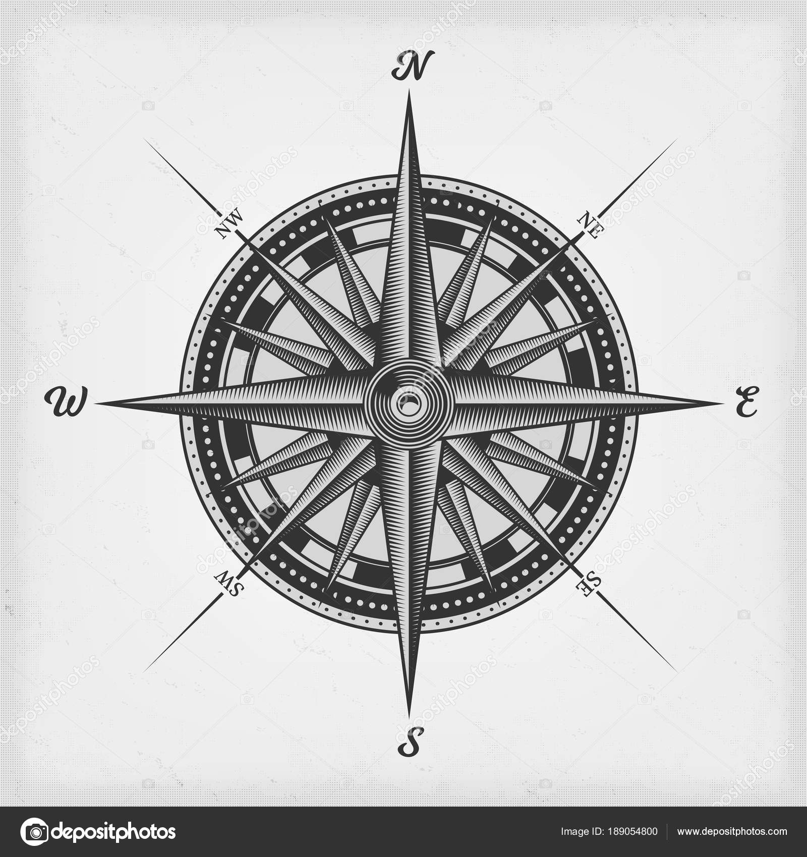Black And White Nautical Compass Rose On Vintage Old Textured Background Vector By Benchyb