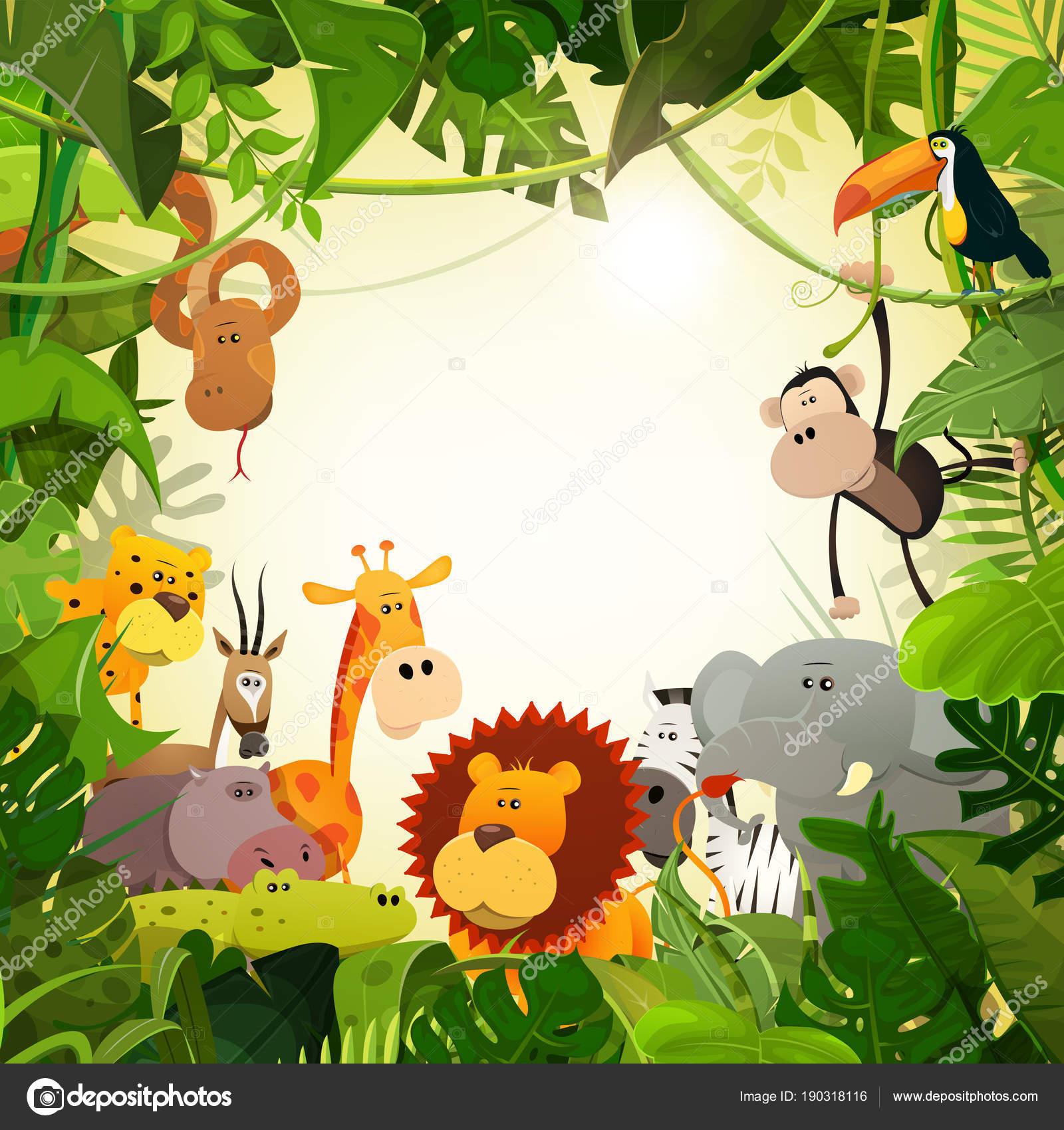 Wild animals african savannah frame jungle plants — stock