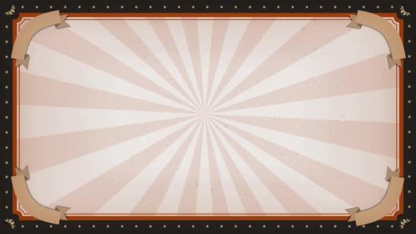Cirkusz farsangi forgatás keret háttér / animáció egy elegáns szüret és retro cirkusz háttér a keret dísz, forgó napsugarak egy csíkos