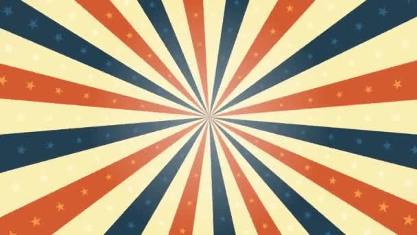 American Vintage Background Rotation Animation/ Animation of a looped vintage abstract and retro american patriotic poster, with sunbeams background, stars and stripes for fourth of july holiday