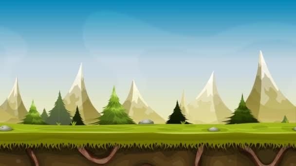 nahtlose Berglandschaftanimation / nahtlose Loopanimation einer Cartoon-Sommer- oder Frühlingsberglandschaft mit Gras, Wurzeln, Kiefern und Tannen