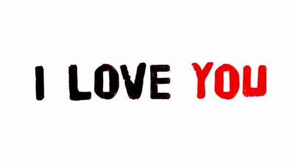 Já miluji vás Doodle klip Hd / animace doodled Miluji tě text tužkou, a hluk textury