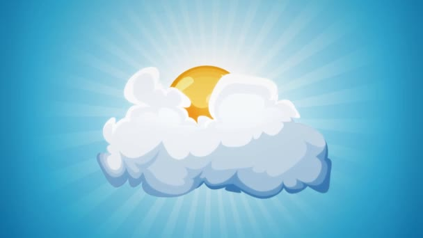 Cartoon Sun And Cloud Loop/ Funny blue Summer sky with animated cartoon sun and cloud, and sunbeams rotating behind